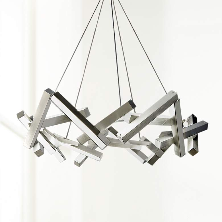 "Chaos 34"" Wide Brushed Aluminum 21-Light LED Chandelier"