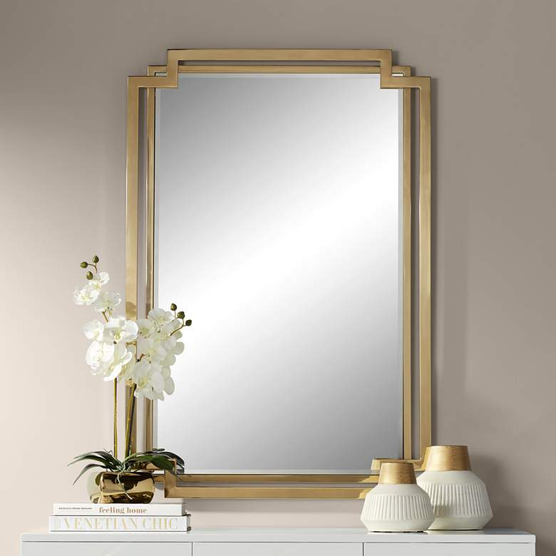 "Carpathia 30 1/2"" x 45 1/4"" Gold Wall Mirror"