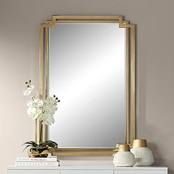 "Possini Euro Carpathia 30 1/2"" x 45 1/4"" Gold Wall Mirror"