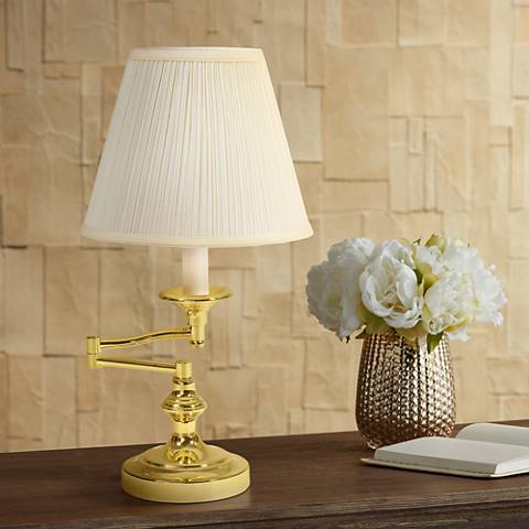 Cambridge Polished Brass Swing Arm Desk Lamp