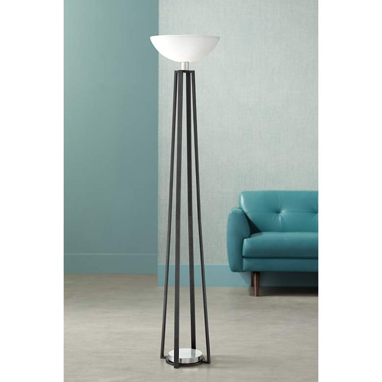 Huston Gun Metal and Brushed Nickel Torchiere Floor Lamp