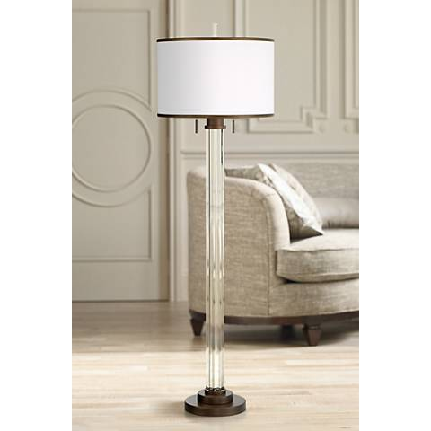 Possini Euro Cadence Crystal Column Floor Lamp Bronze