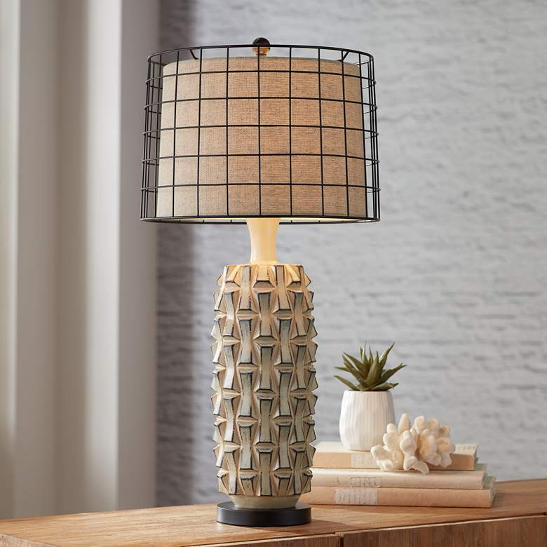 Possini Euro Derek Ceramic and Metal Shade Table Lamp