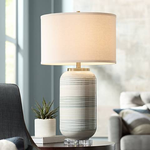 Striped Adler Multi-Color Ceramic Table Lamp