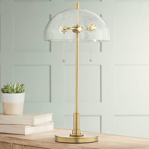 Luminous Antique Brass with Clear Dome Shade Table Lamp
