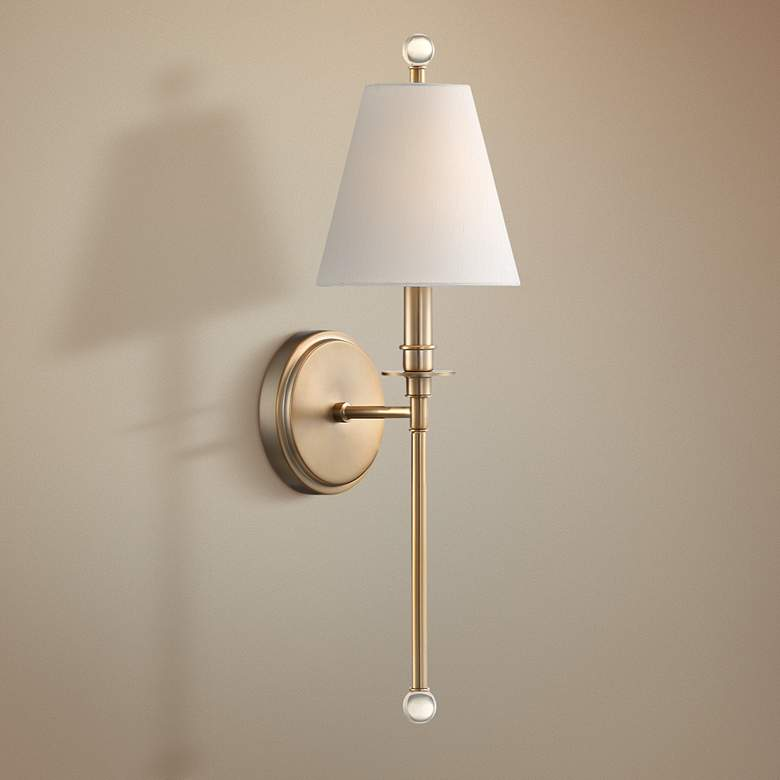 "Crystorama Riverdale 14 1/2"" High Aged Brass Wall Sconce"