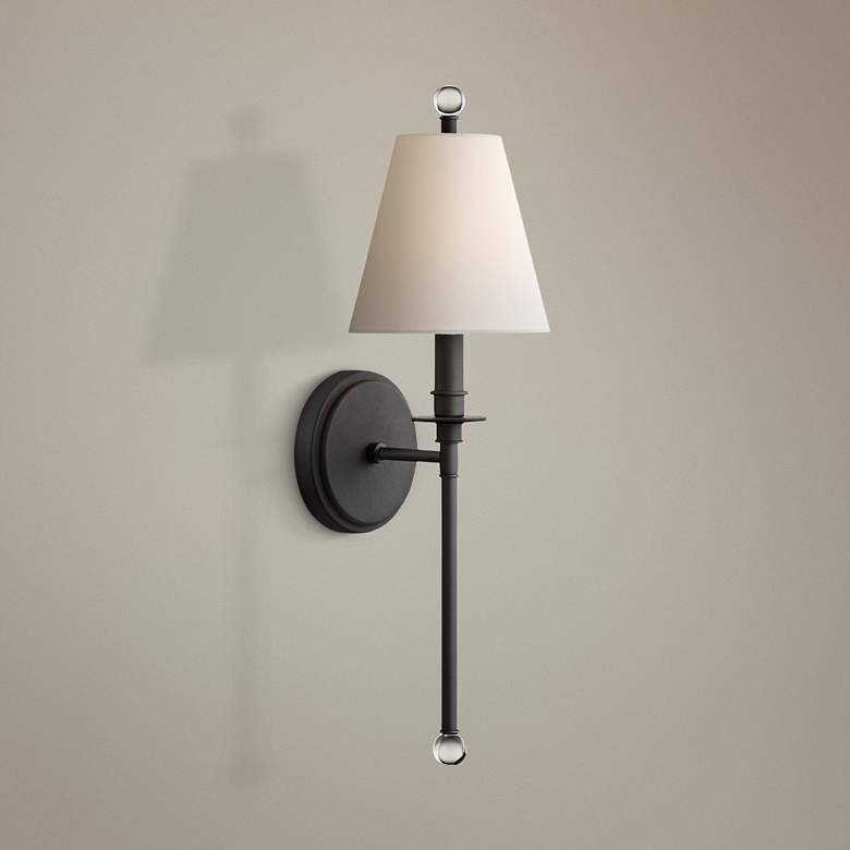 "Crystorama Riverdale 14 1/2"" High Black Forged Wall"