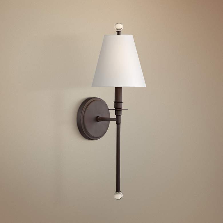 "Crystorama Riverdale 14 1/2"" High Dark Bronze Wall Sconce"
