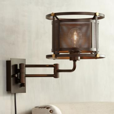 Mason Oil-Rubbed Bronze Mesh Swing Arm Wall Lamp