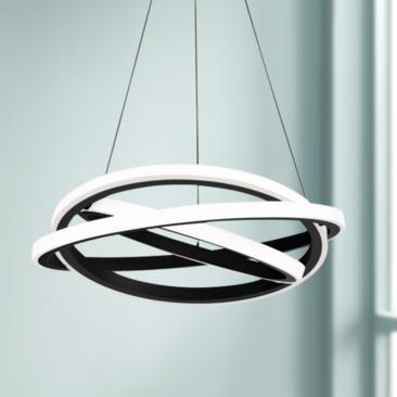 "Modern Forms Veloce 26"" Wide Black 3-Light LED Pendant"
