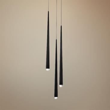 "Cascade 12""W Black w/ Clear Crystal LED Multi Light Pendant"