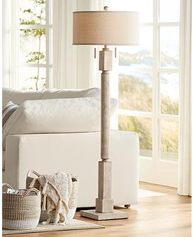 Baer Pickled Wood Finish Floor Lamp