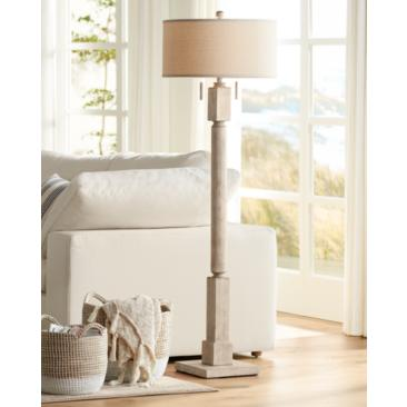 Baluster Pickled Wood Finish Floor Lamp