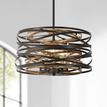 "Vortic Flow 16""W Dark Bronze and Mosaic Gold 5-Light Pendant"