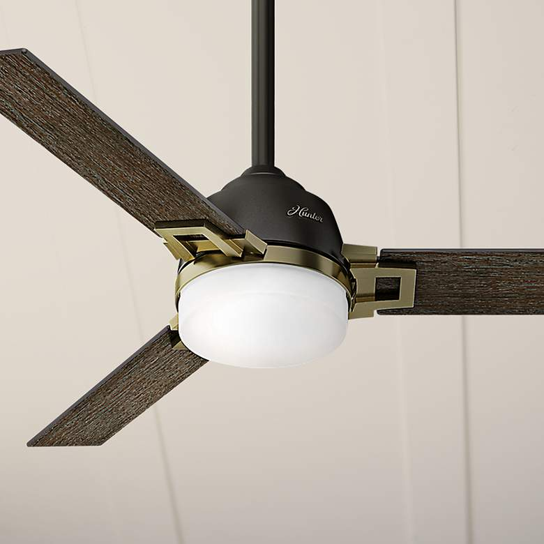 "48"" Hunter Leoni Brass Accented Noble Bronze LED Ceiling Fan"
