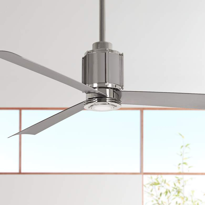 "54"" Minka Aire Gear Polished Nickel LED Ceiling"