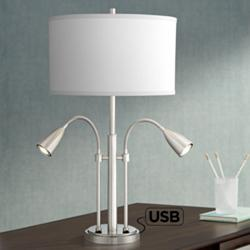 Wagner Brushed Nickel Gooseneck Table Lamp with USB Port