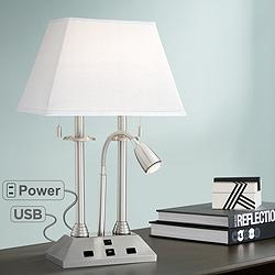 Dexter Nickel Finish Desk Lamp with USB Port and Outlets