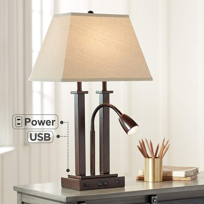 Deacon Bronze Gooseneck Desk Lamp with USB Port