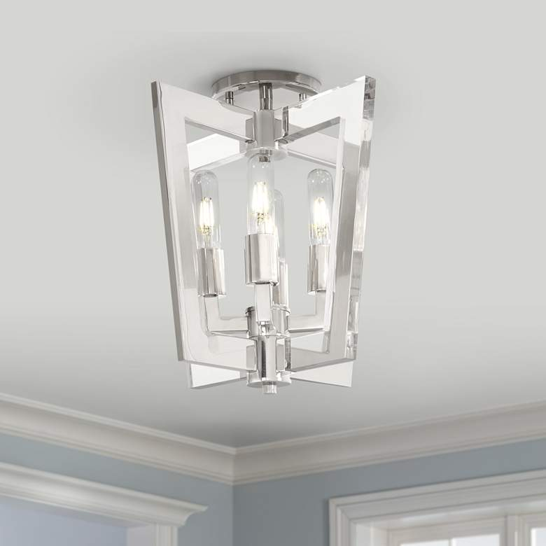"Crystal Chrome 14""W Polished Nickel 4-Light Ceiling Light"