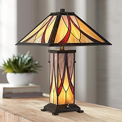 Blythe Arts-Crafts Accent Table Lamp with Night Light
