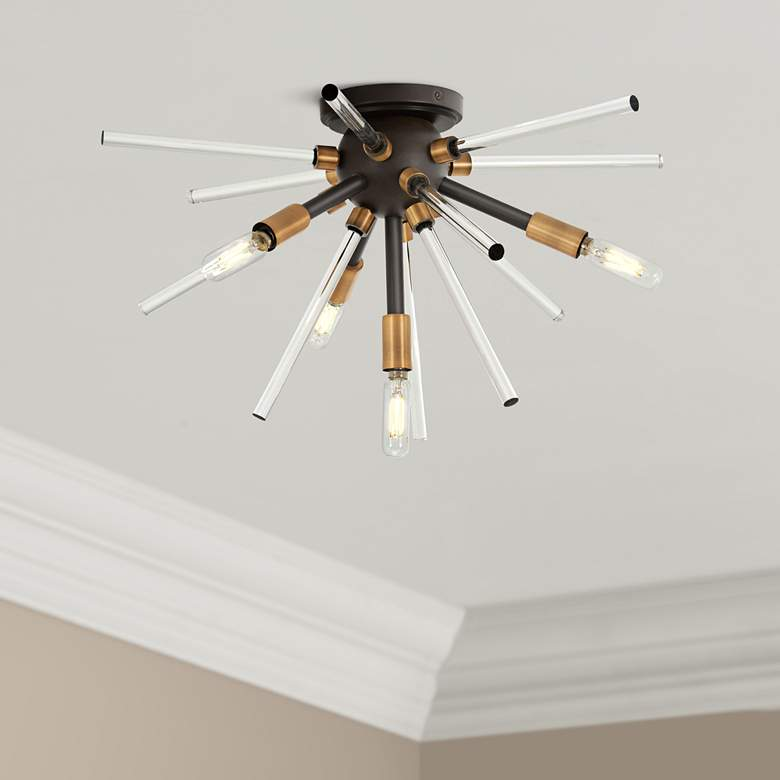 "George Kovacs Spiked 20"" Wide Bronze 4-Light Ceiling"