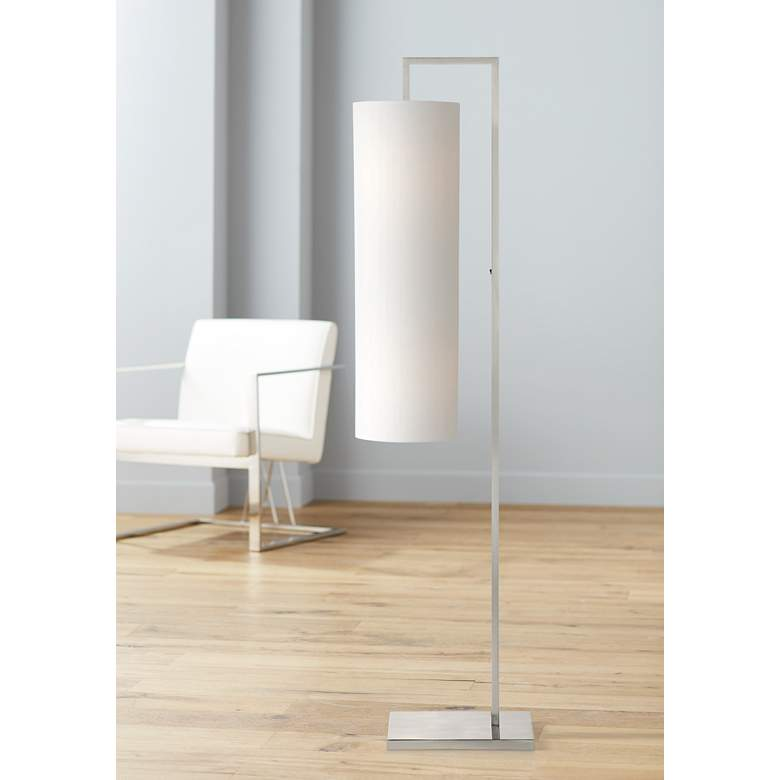 Possini Euro Canaday Brushed Nickel Floor Lamp