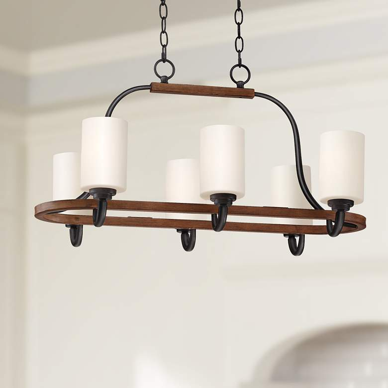 "Jackson 30""W Bronze and Brown Wood 6-Light Island Chandelier"