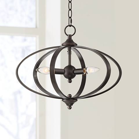 "Orbit 16"" Wide Oiled-Rubbed Bronze 3-Light Chandelier"