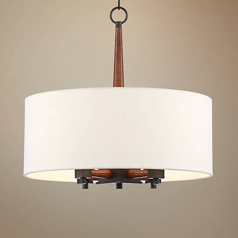 "McGraw 20"" Wide Black and Brown Wood Pendant Light"