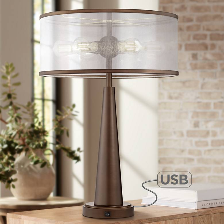 Apollo Industrial Modern Table Lamp With Usb Port 56j43