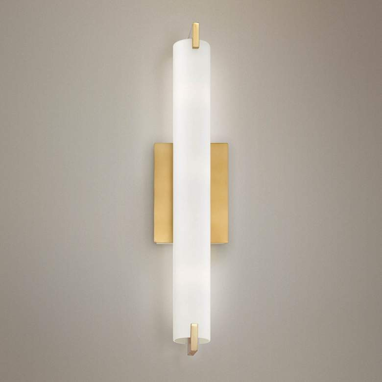 "George Kovacs Tube 20 1/2"" High Honey Gold LED Wall Sconce"