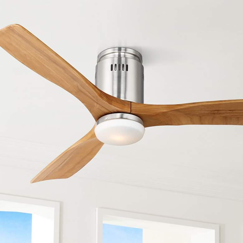 "52"" Possini Euro Admiralty Brushed Nickel LED Ceiling Fan"