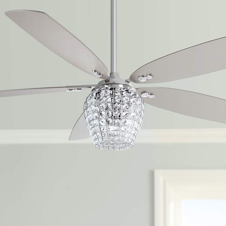 "56"" Minka Aire Bling Chrome LED Ceiling Fan W/ Crystal Glass"