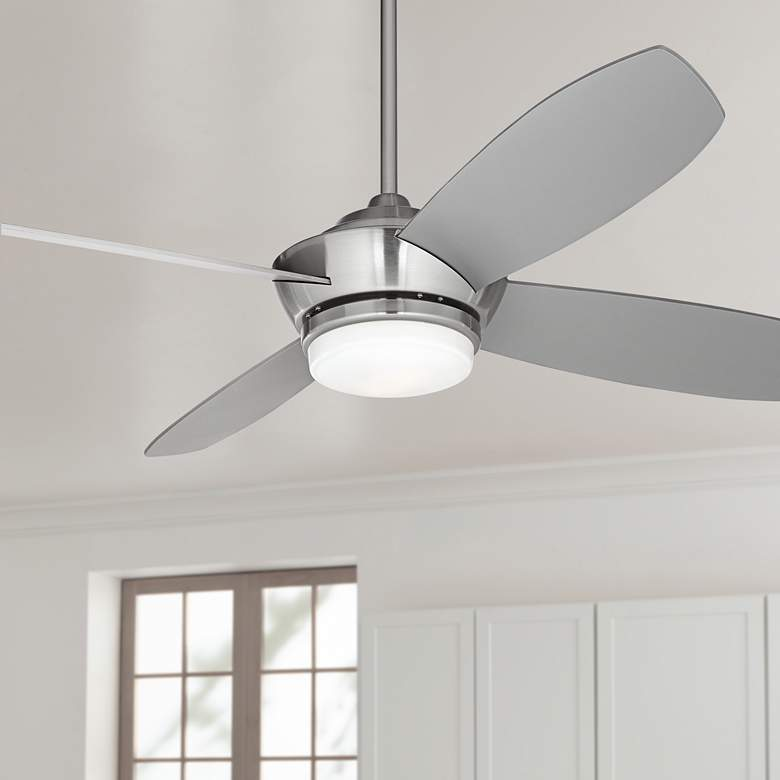 "52"" Casa Vieja® Veridian Brushed Nickel LED Ceiling"