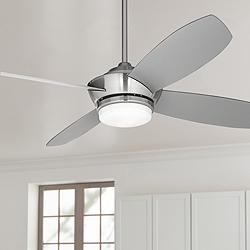 "52"" Casa Vieja® Veridian Brushed Nickel LED Ceiling Fan"