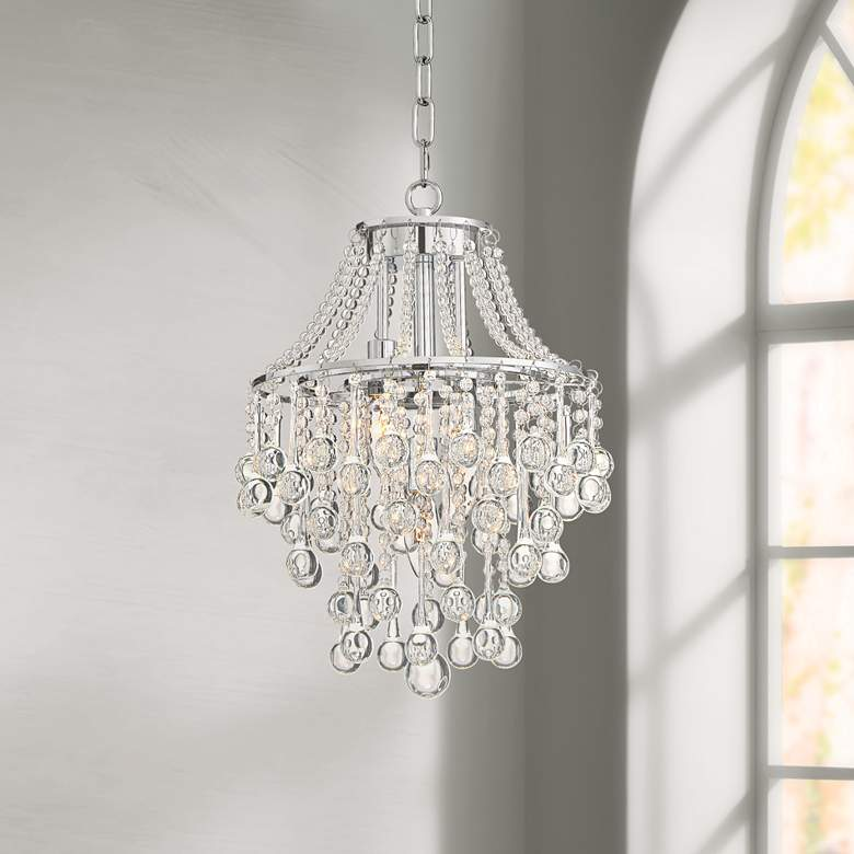 "Josie 12"" Wide Chrome and Crystal Pendant Light"