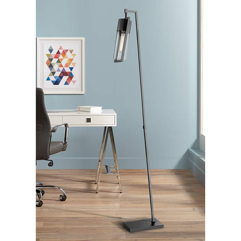 "Lite Source Norman 66 1/2""H Black Finish Modern Floor Lamp"