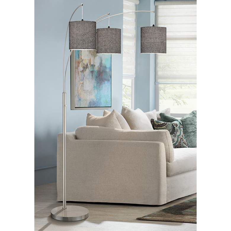 Norlan Brushed Nickel 3-Light Arc Floor Lamp