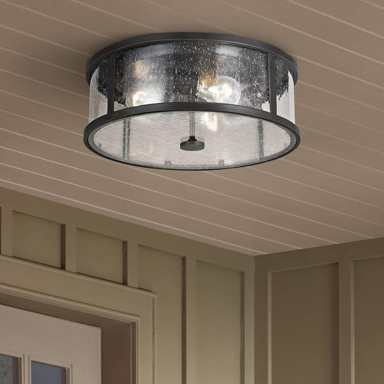 "Feiss Dakota 14"" Wide Espresso 3-Light Outdoor Ceiling"