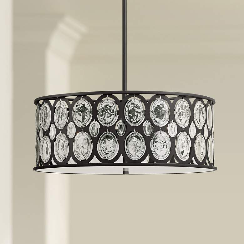 "Estrella 20"" Wide Bronze and Clear Crystal Drum Pendant"