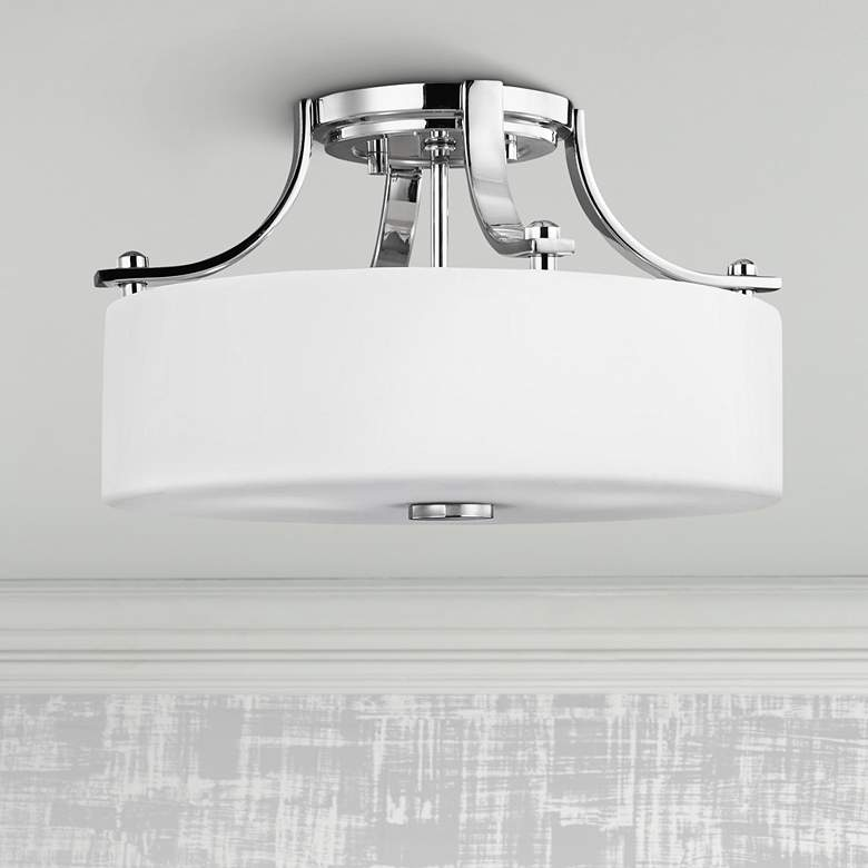 "Feiss Sunset Drive 13"" Wide Chrome Ceiling Light"