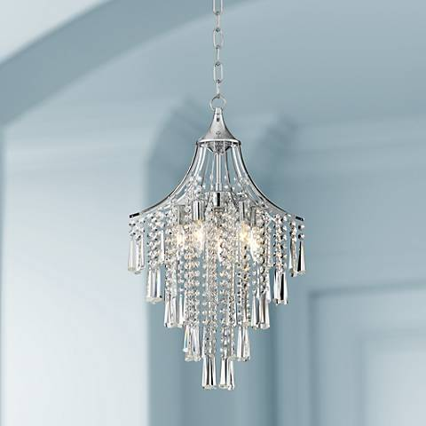 "Isabella 16"" Wide Chrome and Crystal Pendant Light"