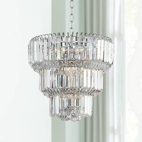 "Valeria 18"" Wide Chrome and Crystal Chandelier"