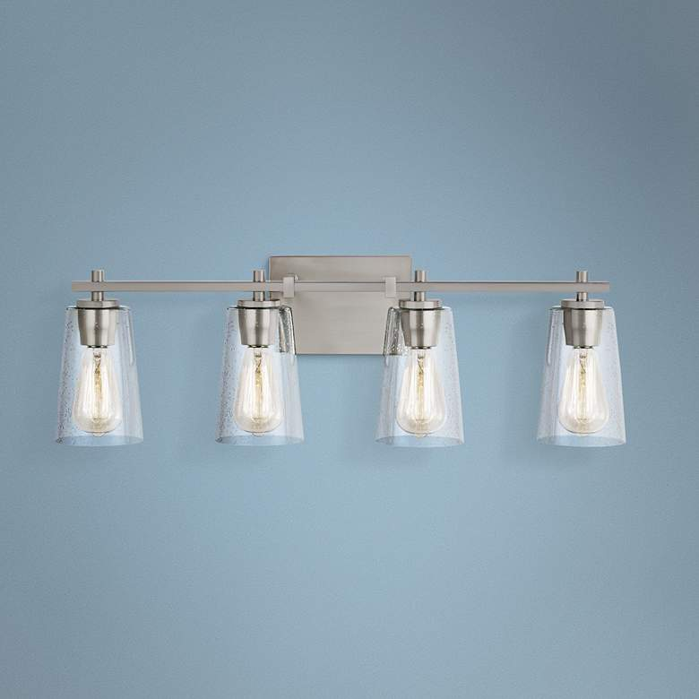 "Feiss Mercer 28 3/4"" Wide Satin Nickel 4-Light Bath Light"
