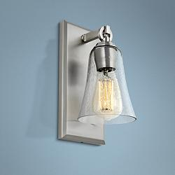 "Feiss Monterro 11"" High Satin Nickel Wall Sconce"