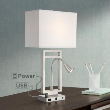 Nevel Brushed Nickel Gooseneck LED with USB Port and Outlet
