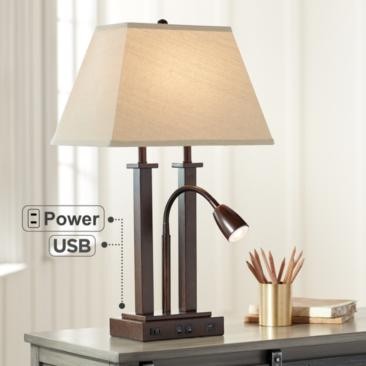Deacon Bronze Gooseneck Desk Lamp with USB Port and Outlet