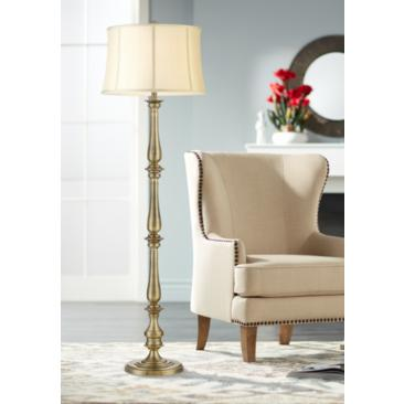 Essex Traditional Satin Brass Floor Lamp