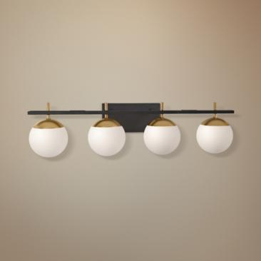 "George Kovacs Alluria 33""W Black and Gold 4-Light Bath Light"